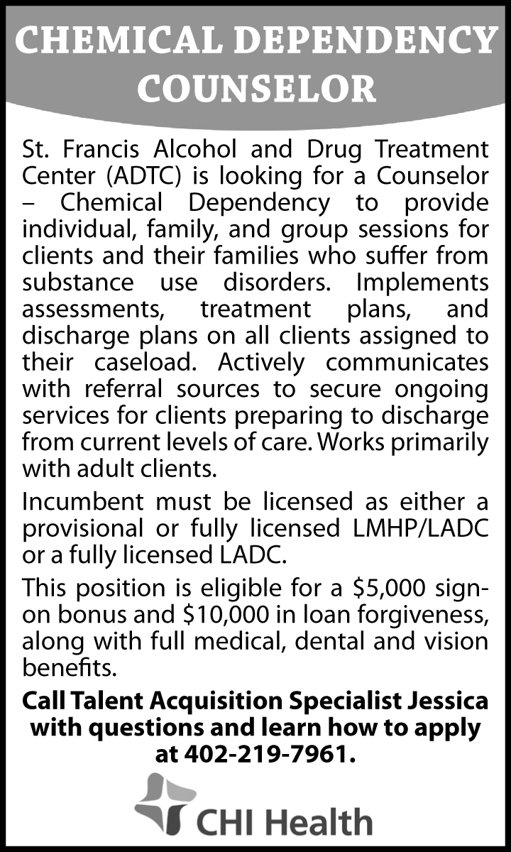 Chemical Dependency Counselor Nebraska Hires
